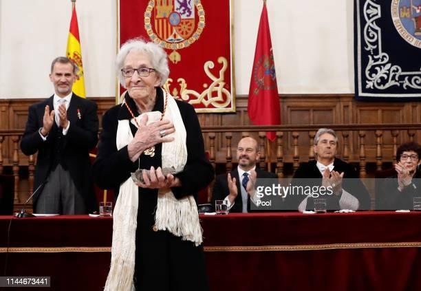 Uruguayan poet Ida Vitale receives the Miguel de Cervantes Literature Prize in Spanish Language at the University of Alcalá de Henares on April 23,...