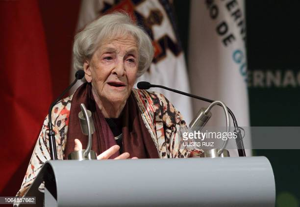Uruguayan poet Ida Vitale, speaks after receiving the International Book Fair Literature Prize in Romance Languages, during the opening of the...