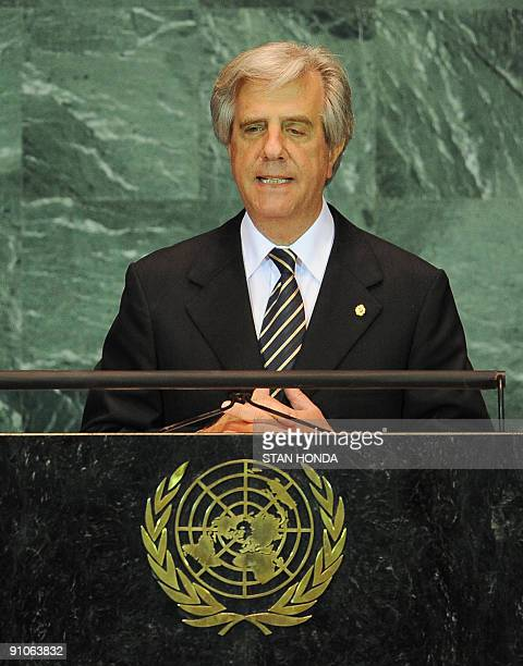 Uruguayan President Tabare Vazquez speaks during the United Nations General Assembly September 23 2009 at UN headquarters in New York AFP PHOTO/Stan...