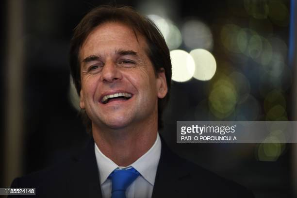 Uruguayan presidentelect Luis Lacalle Pou smiles at a hotel in Montevideo after meeting with Costa Rican President Carlos Alvarado on November 29...