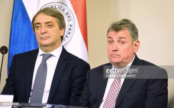 Uruguayan Secretary of Sports Fernando Caceres and Uruguayan Football Association President Wilmar Valdez attend the meeting held by representatives...