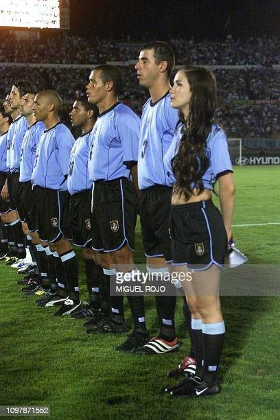 Uruguayan singer and actress Natalia Oreiro joins the uruguayan soccer team to sing their national anthem at the FIFA World Cup preparation game in...