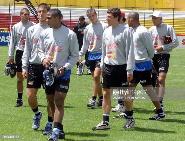 Uruguayan soccer players of Sub20 selection walk during an inspection session at the Alejandro Serrano Aguilar stadium in Cuenca Ecuador 13 January...