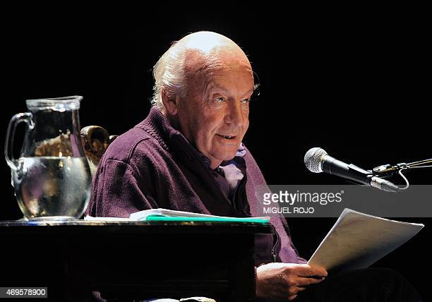 Uruguayan writer Eduardo Galeano reads from his new book Los hijos de los dias at the Solis Theater in Montevideo on April 3 2012 Galeano died in...