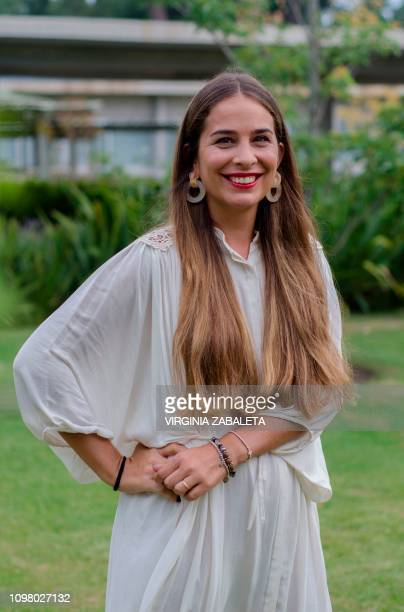 Uruguayan writer Maria del Carmen Perrier poses during the presentation of her book Del otro lado de la montana in Punta del Este Maldonado 134 km...