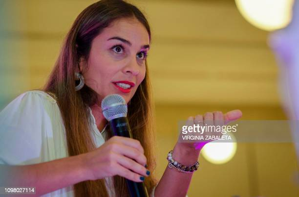 Uruguayan writer Maria del Carmen Perrier speaks during the presentation of her book Del otro lado de la montana in Punta del Este Maldonado 134 km...
