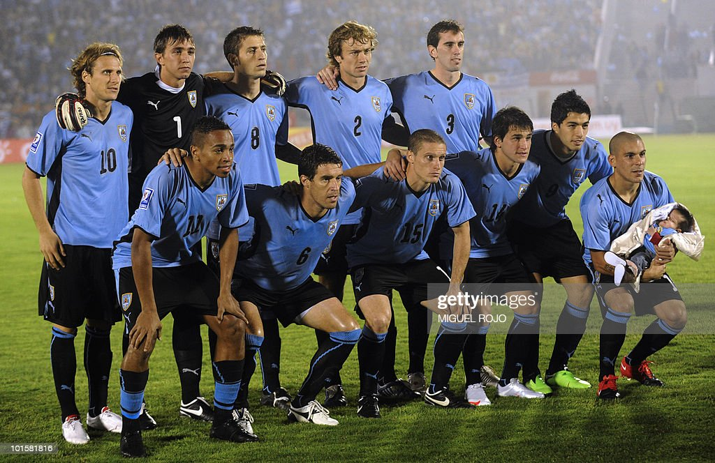 Uruguayans national team players (L-R, up) Diego Forlan, Nestor Muslera, Sebastian Euguren, Diego Lugano, Diego Godin (L-R, down) Alvaro Pereira, Andres Scotti, Diego Perez, Nicolas Lodeiro, Luis Suarez and Maximiliano Pereira pose for the press before the FIFA World Cup South Africa 2010 qualifier second play-off football match against Costa Rica at Centenario Stadium in Montevideo on November 18, 2009. The game ended 1-1 and Uruguay obtain the ticket to South Africa. AFP PHOTO / Miguel ROJO