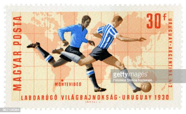 UruguayArgentina 4 to 2 the final game of the World Championships in Montevideo Uruguay 1930 Stamp of a series issued by the Hungarian Post at the...