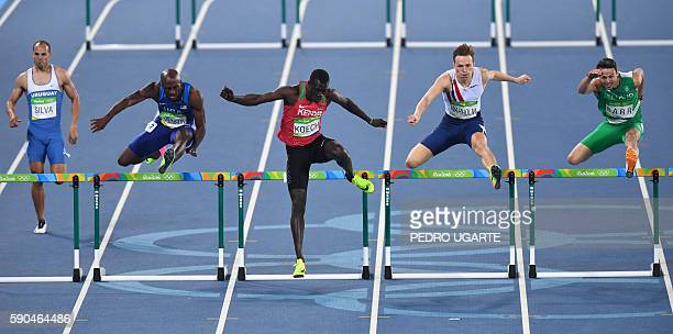 Uruguay's Andres Silva USA's Byron Robinson Kenya's Haron Koech Norway's Karsten Warholm and Ireland's Thomas Barr compete in the Men's 400m Hurdles...