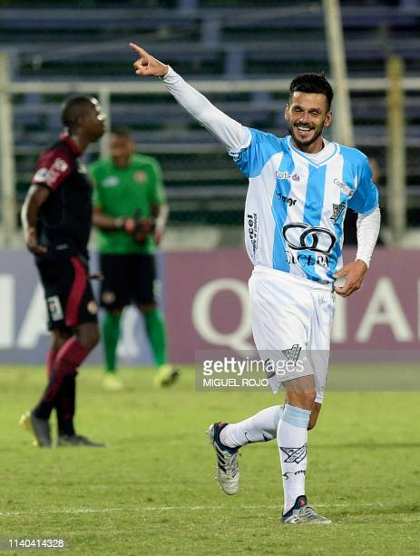 Uruguay's Cerro midfielder Richard Pellejero celebrates after scoring against Peu's UTC during their Copa Sudamericana football match at the Luis...