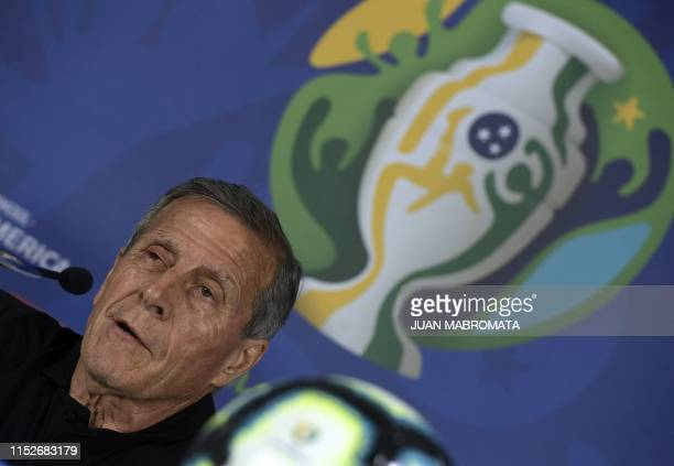 Uruguay's coach Oscar Tabarez speaks during a press conference at Arena Fonte Nova stadium in Salvador Bahia Brazil on June 27 on the eve of a Copa...