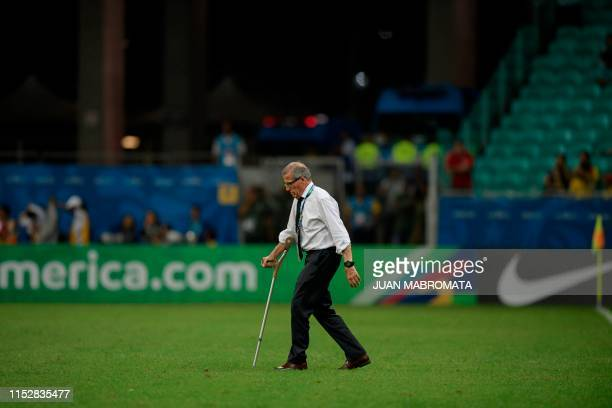 Uruguay's coach Oscar Washington Tabarez is pictured before the penalty shootout against Peru after tying 00 during their Copa America football...