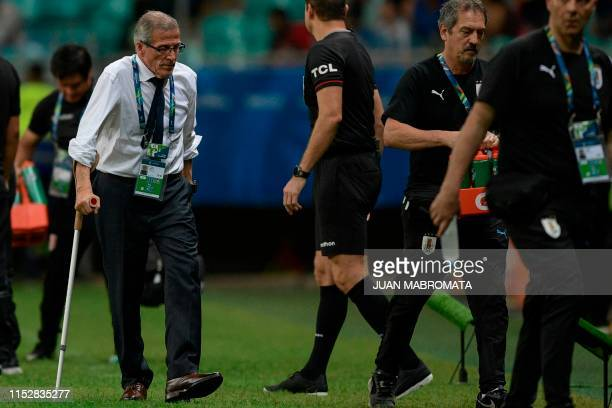 Uruguay's coach Oscar Washington Tabarez is pictured during the Copa America football tournament quarterfinal match against Peru at the Fonte Nova...
