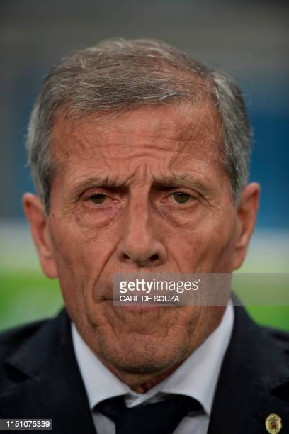 Uruguay's coach Oscar Washington Tabarez looks on before the Copa America football tournament Group C match at the Gremio Arena Stadium in Porto...