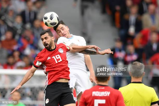 Uruguay's defender Jose Gimenez and Egypt's midfielder Abdallah Said go up for a header during the Russia 2018 World Cup Group A football match...