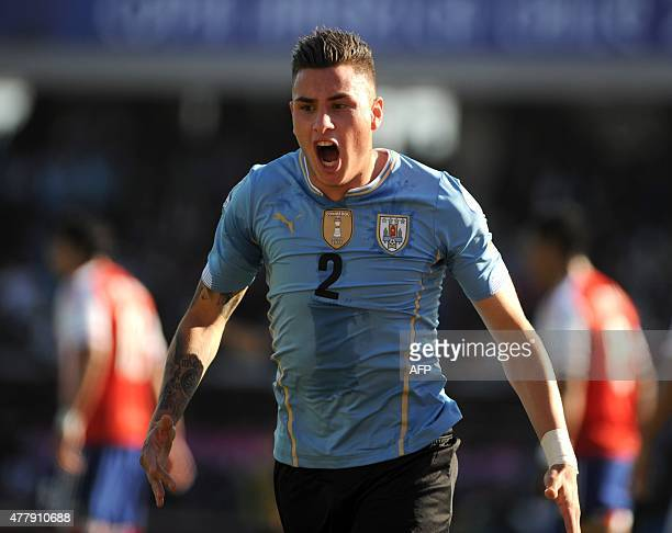 Uruguay's defender Jose Maria Gimenez celebrates after scoring against Paraguay during their 2015 Copa America football championship match in La...