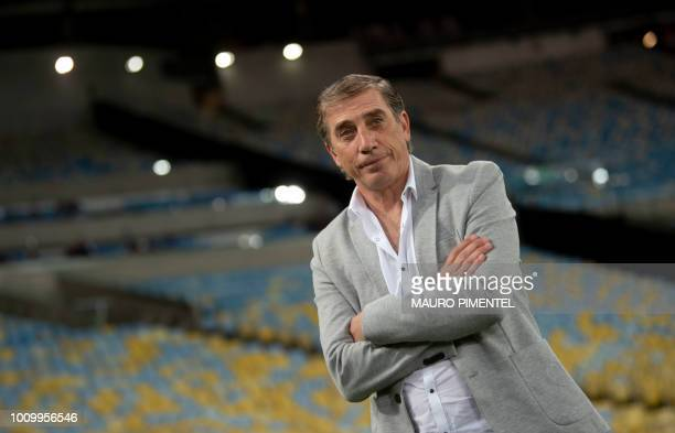 Uruguay's Defensor Sporting coach Eduardo Acevedo is pictured before the start of the Copa Sudamericana football match against Brazil's Fluminense at...