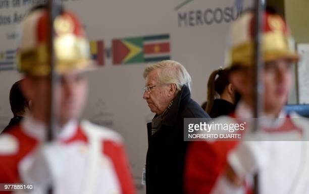 Uruguay's Economy Minister Danilo Astori arrives for the Mercosur Summit in Luque Paraguay on June 18 2018 During the South American trading bloc's...