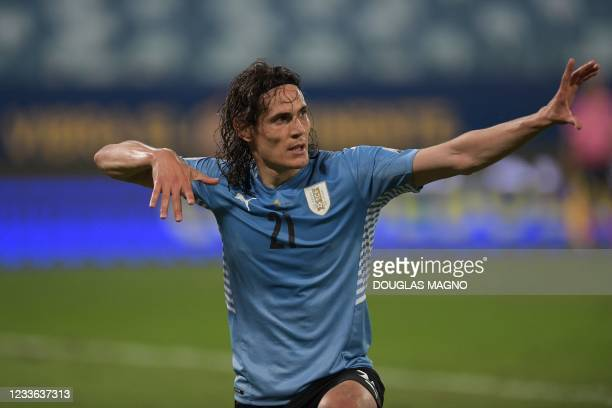 Uruguay's Edinson Cavani celebrates after scoring against Bolivia during their Conmebol Copa America 2021 football tournament group phase match at...
