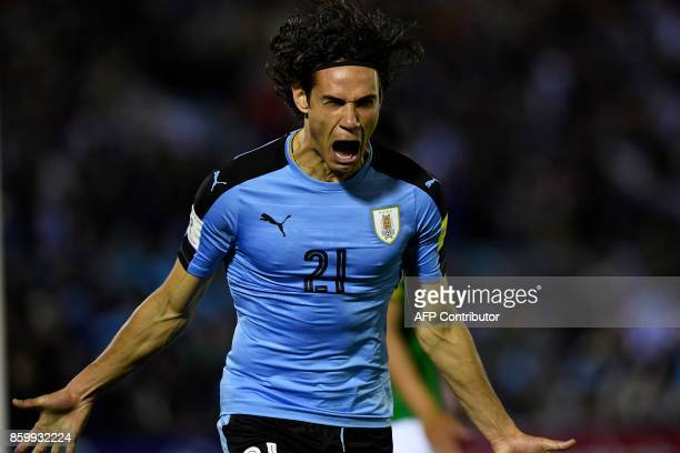 TOPSHOT Uruguay's Edinson Cavani celebrates after scoring against Bolivia during their 2018 World Cup football qualifier match in Montevideo on...
