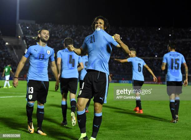 Uruguay's Edinson Cavani celebrates after scoring against Bolivia during their 2018 World Cup football qualifier match in Montevideo on October 10...