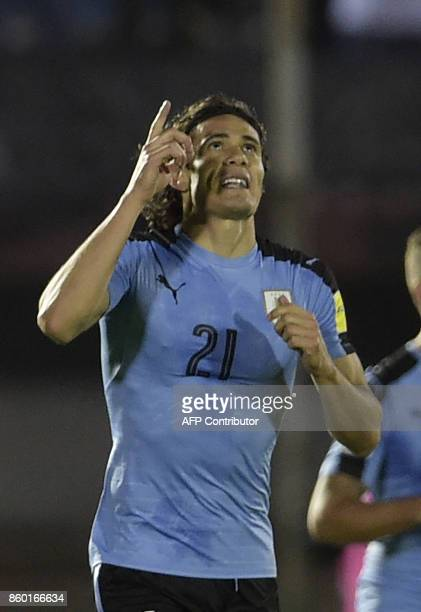 Uruguay's Edinson Cavani celebrates after scoring against Bolivia during their 2018 World Cup football qualifier match in Montevideo, on October 10,...