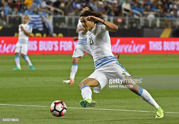 Uruguay's Edinson Cavani takes the ball during the Copa America Centenario football tournament match against Jamaica in Santa Clara, California,...
