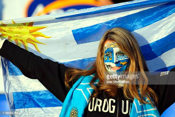 Uruguay´s fans cheer to their team during a match as part of group C of 2011 Copa America at Malvinas Argentinas Stadium on July 8 2011 in Mendoza...