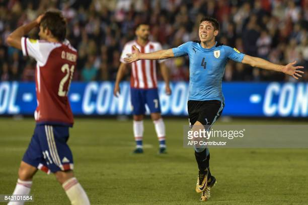 Uruguay's Federico Valverde celebrates after scoring against Paraguay during their 2018 World Cup football qualifier match in Asuncion on September 5...