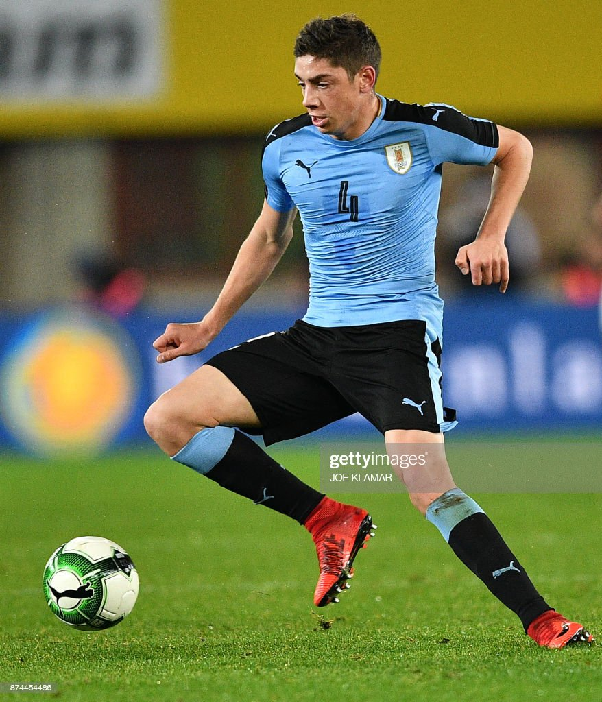 Uruguay's Federico Valverde controls the ball during an international friendly football match between Austria and Uruguay in Vienna, Austria on November 14, 2017. . /