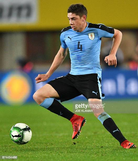 Uruguay's Federico Valverde controls the ball during an international friendly football match between Austria and Uruguay in Vienna Austria on...