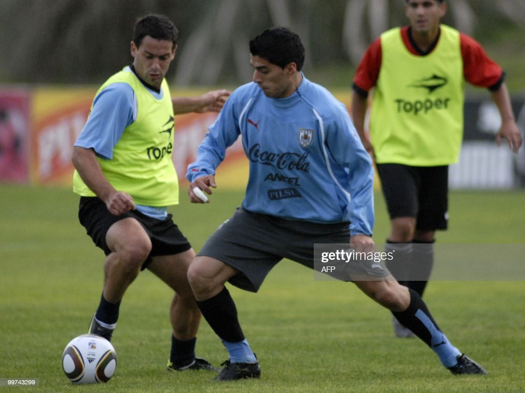 Uruguay's footballer Luis Suarez (R) vies for the ball with a teammate during a training session with a view to the upcoming FIFA World Cup South Africa 2010, on May 17, 2010 in Montevideo. AFP PHOTO/Angel SARAVIA URUGUAY OUT