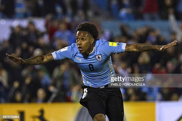 Uruguay's forward Abel Hernandez celebrates after scoring against Colombia during their Russia 2018 FIFA World Cup South American Qualifiers football...