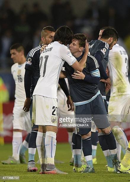 Uruguay's forward Edinson Cavani and Argentina's forward Lionel Messi salute each other after their 2015 Copa America football championship match in...