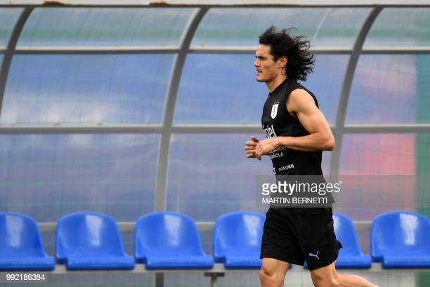 Uruguay's forward Edinson Cavani attends a training session on July 5 2018 at the Sports Centre Borsky in Nizhny Novgorod on the eve of their Russia...
