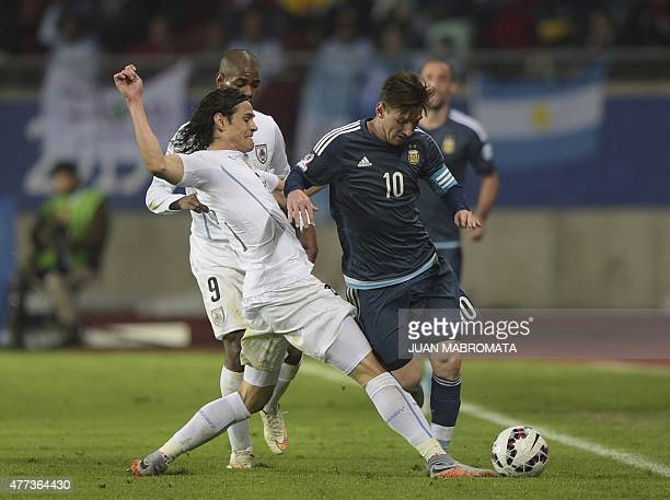 Uruguay's forward Edinson Cavani marks Argentina's forward Lionel Messi during the 2015 Copa America football championship match in La Serena Chile...