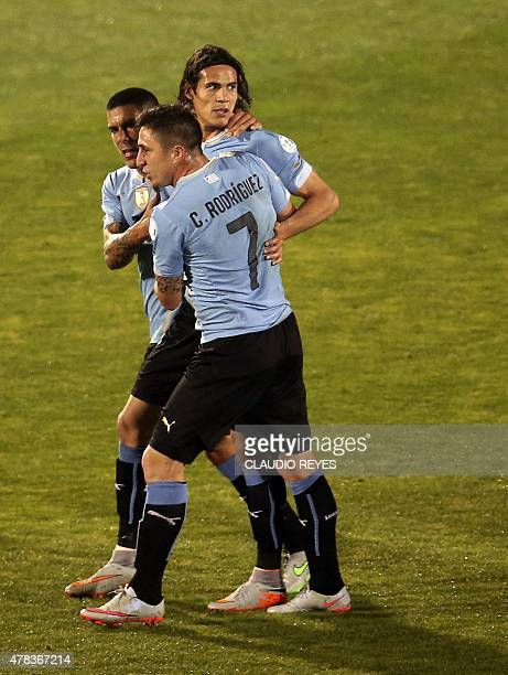 Uruguay's forward Edinson Cavani reacts after receiving a red card during their 2015 Copa America football championship quarterfinal match in...