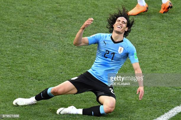 Uruguay's forward Edinson Cavani reacts during the Russia 2018 World Cup Group A football match between Uruguay and Saudi Arabia at the Rostov Arena...