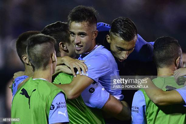 Uruguay's forward Franco Acosta celebrates his second goal against Chile during their South American U-20 football match at Domingo Burgueno stadium...