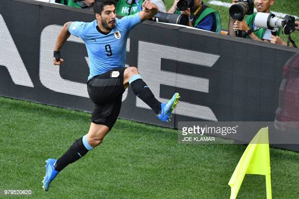Uruguay's forward Luis Suarez celebrates after scoring during the Russia 2018 World Cup Group A football match between Uruguay and Saudi Arabia at...