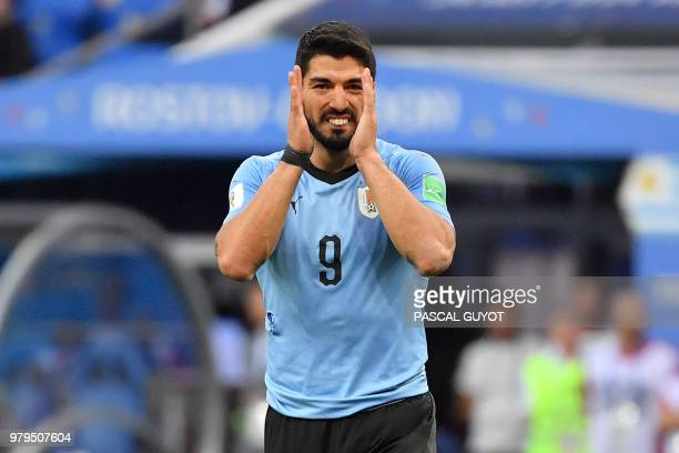 Uruguay's forward Luis Suarez gestures during the Russia 2018 World Cup Group A football match between Uruguay and Saudi Arabia at the Rostov Arena...
