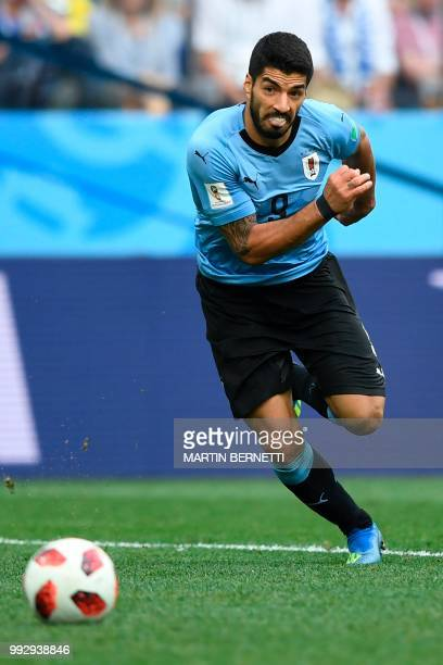 Uruguay's forward Luis Suarez runs for the ball during the Russia 2018 World Cup quarterfinal football match between Uruguay and France at the Nizhny...