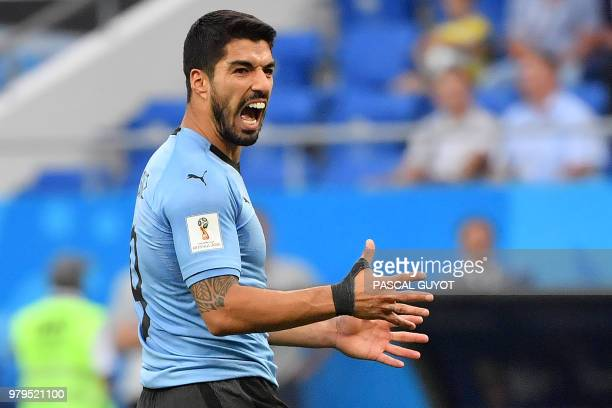 TOPSHOT Uruguay's forward Luis Suarez shouts during the Russia 2018 World Cup Group A football match between Uruguay and Saudi Arabia at the Rostov...
