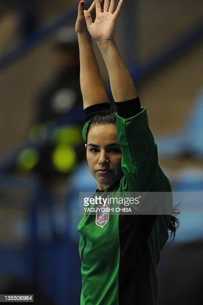 Uruguay's goalkeeper Noelia Artigas gestures during the Women's World Handball Championship match against Argentina in Sao Bernardo do Campo, Sao...