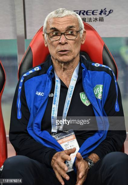 Uruguay's head coach Hector Raul Cuper looks on during the 2019 China Cup football match between Uruguay and Uzbekistan in Nanning in China's...