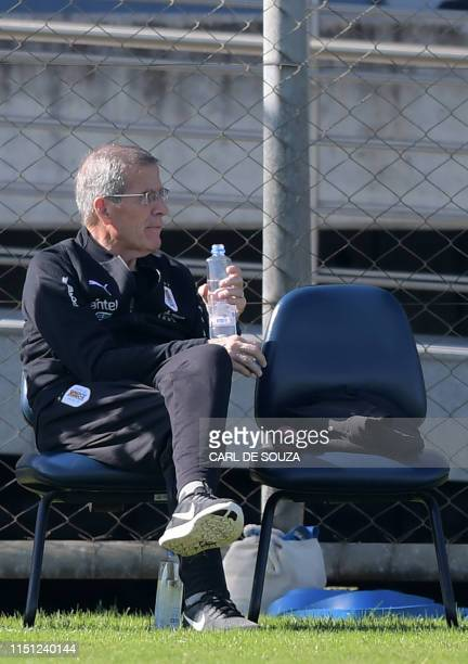 Uruguay's head coach Oscar Tabarez attends a training session in Porto Alegre Brazil on June 19 ahead of a Copa America football match against Chile...