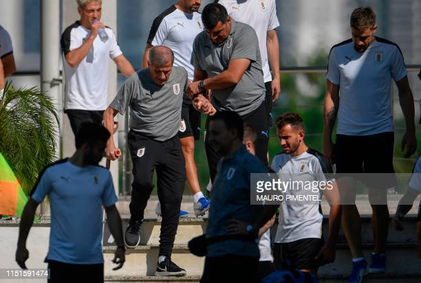 Uruguay's head coach Oscar Tabarez attends a training session with teammates at Fluminense Training Center in Rio de Janeiro Brazil on June 23 on the...