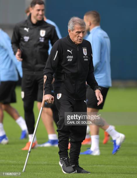 Uruguay's head coach Oscar Tabarez takes part in a training session in Porto Alegre Brazil on June 19 on the eve of their Copa America football match...