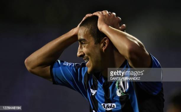 Uruguay's Liverpool Andres Pereira gestures during the closed-door Copa Sudamericana second round football match between Uruguay's Liverpool and...