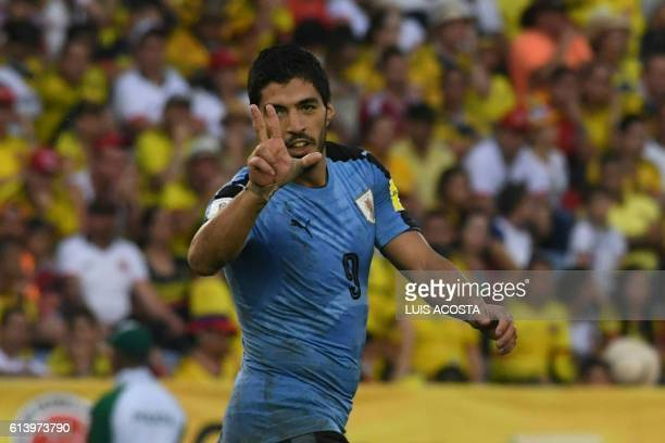 TOPSHOT Uruguay's Luis Suarez celebrates after scoring against Colombia during their Russia 2018 World Cup qualifier football match in Barranquilla...